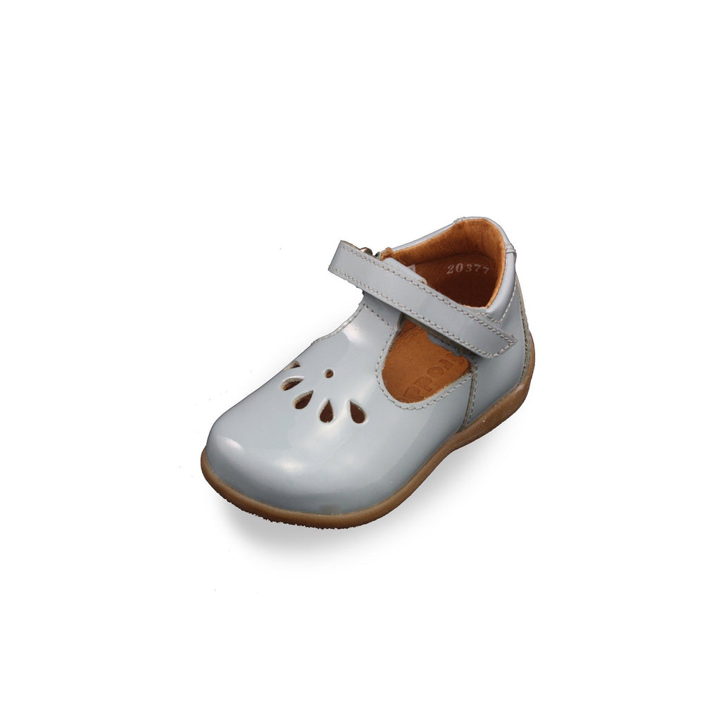 Froddo Blue Patent T-bar Shoes. Cooshoo kids shoes.