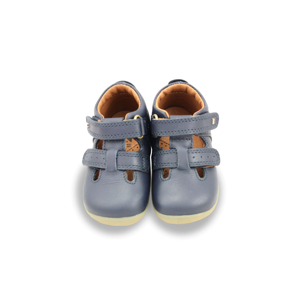 Pair of Bobux Step Up Jack and Jill Navy Barefoot Children's Shoes. From Cooshoo kids shoes.