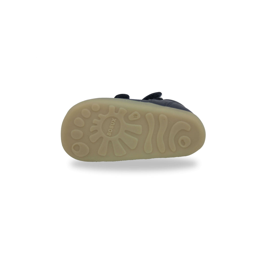 Sole of Bobux Step Up Jack and Jill Navy Barefoot Children's Shoes. From Cooshoo kids shoes.