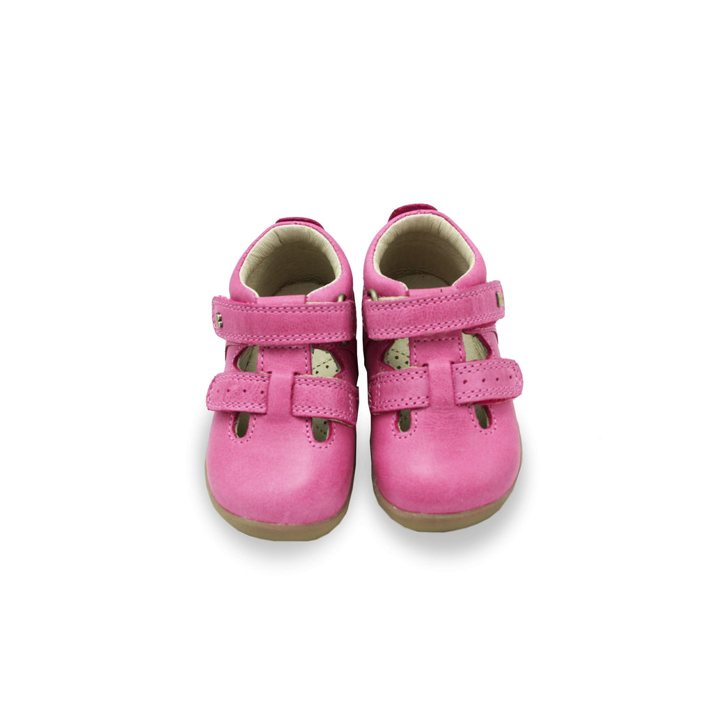 Pair of Bobux Step Up Jack and Jill Pink Barefoot Kids Shoes. From Cooshoo fitted childrens shoes.