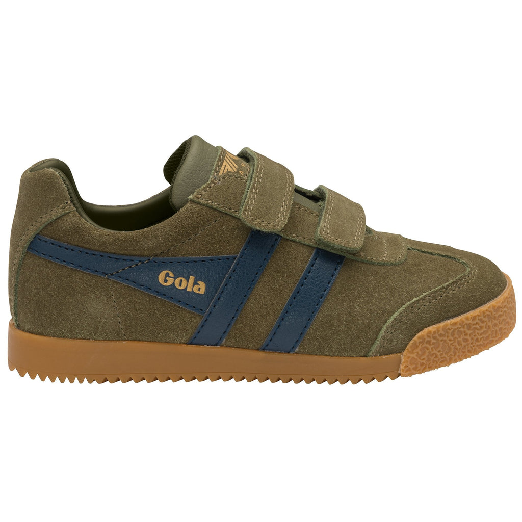 Side of Pair of Gola Khaki and Navy Velcro Trainers. Cooshoo children's shoes.