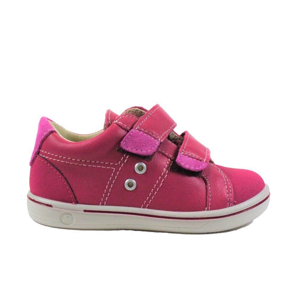 Profile of Ricosta Nippy Pink Trainer Shoes. Cooshoo kids shoes.