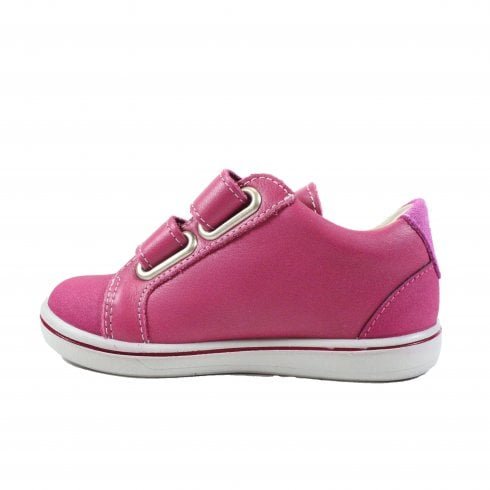 Side of Ricosta Nippy Pink Trainer Shoe. Cooshoo kids shoes.