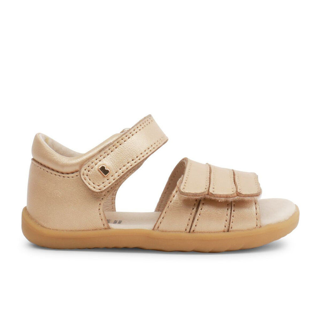 Side view of Bobux Step Up Hampton Gold Sandals, barefoot children's shoes. From Cooshoo fitted childrens shoes.