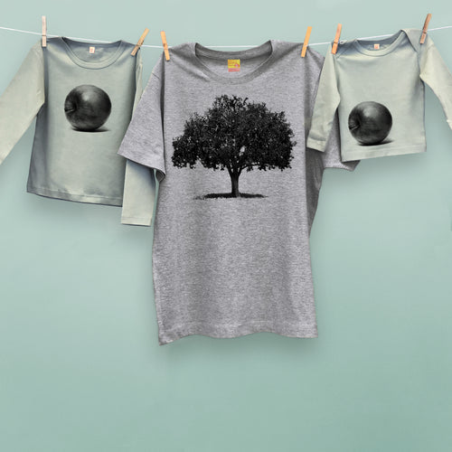 Apple Tree & Apple t shirt trio set for parent and two kids or twins