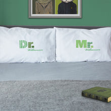 Mr / Mrs / Dr pillowcase set for married couples (green)