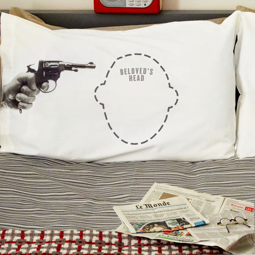 Funny 'Gun to the head' printed Headcase pillowcase