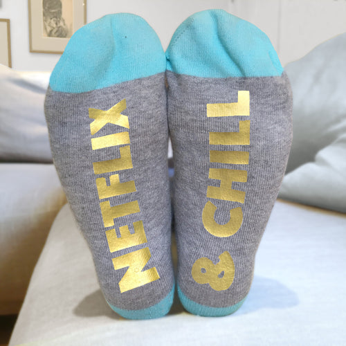 Netflix & Chill 'Feet Up' funny message socks