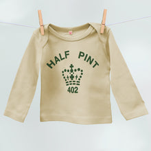 Child's Half Pint organic t shirt in khaki and coffee