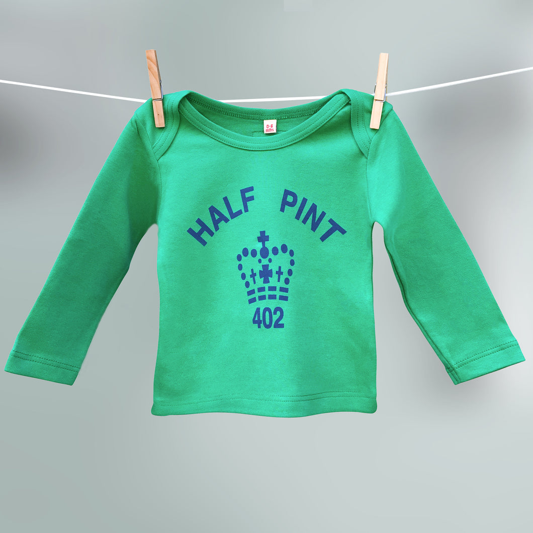 Child's organic Half Pint t shirt in green and navy