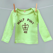 Half Pint t shirt for child and baby in mint green and brown