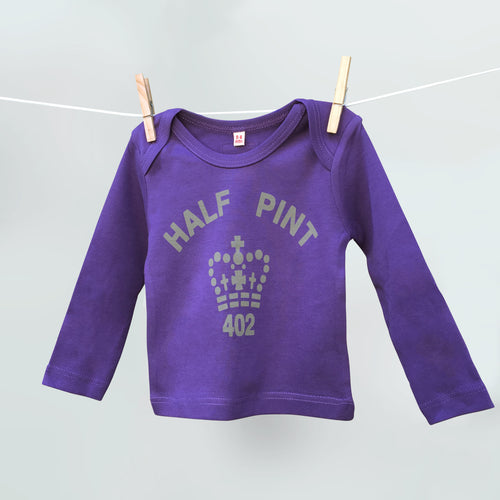 Half Pint t shirt in purple and stone for babies and children