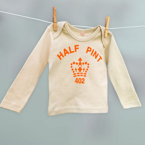 Half Pint organic t shirt in coffee and orange for babies and children