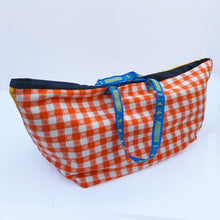 Vintage IKEA bag - stripes and squares 1960s fabric