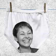 Caroline Lucas's face on adult Political Pants