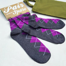 Pair and a Spare' three sock set - purple/ grey