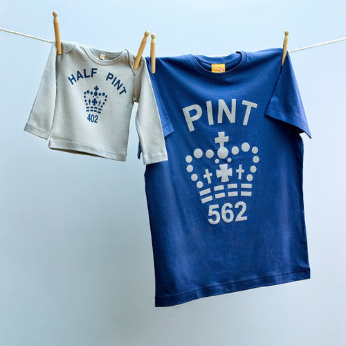 Pint & Half Pint t shirt set for dad and son/ daughter in navy / grey