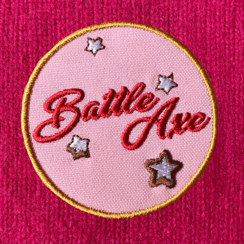 BATTLE AXE iron-on clothes patch from the Hag Range