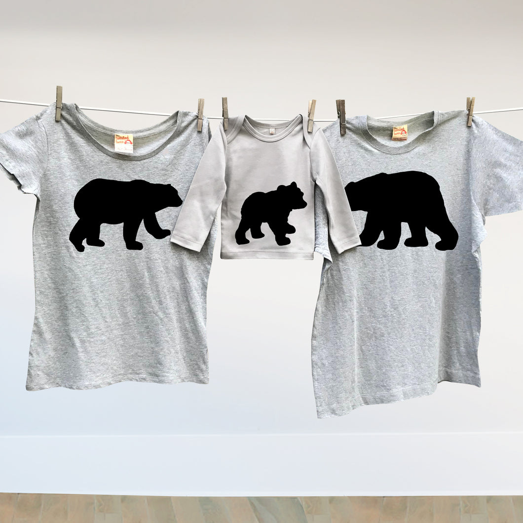 Matching family Bear t shirt set for mum, dad and baby bear