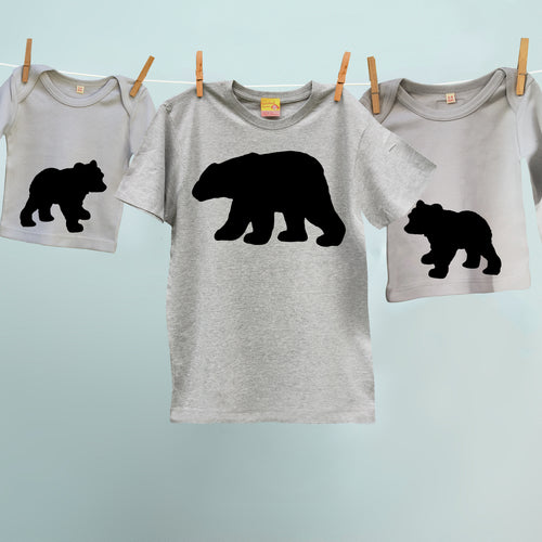 matching Bear and Cubs trio t shirt set for mum / dad and children