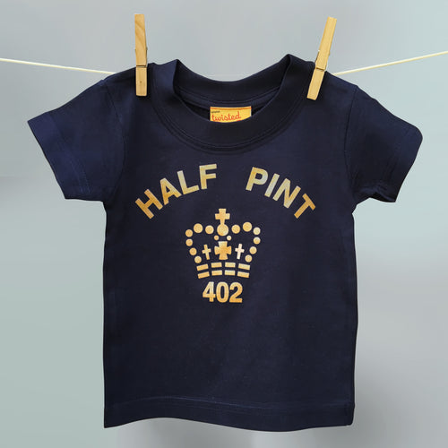 Gold Half Pint logo t shirt for nippers