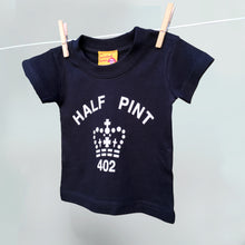 Copy of Child's white organic t shirts with a black Half Pint logo