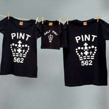 Family Pint & Half Pint t shirt set in black and white