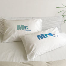 Mr / Mrs / Dr pillowcase set for married couples (Blue)