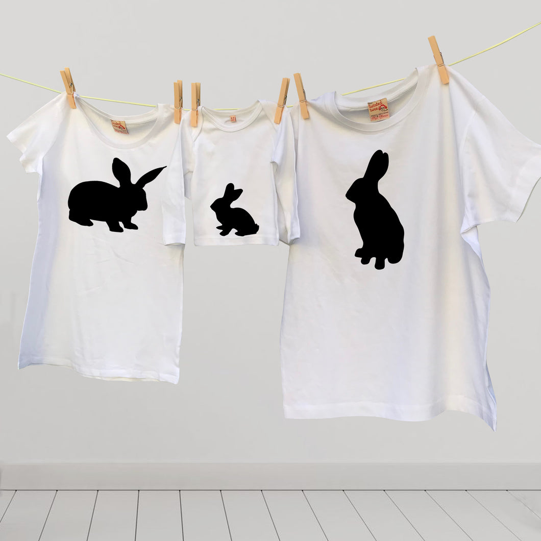 Matching family rabbits t shirt set for mum, dad and bunny