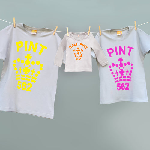 Family Pint t shirt set for mum, dad and half pint for children