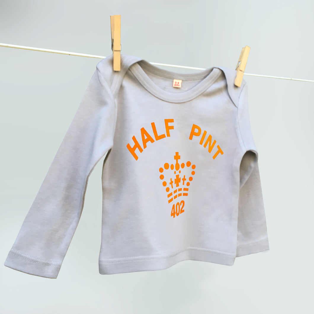 Grey and orange slogan Half Pint t shirt for younglings
