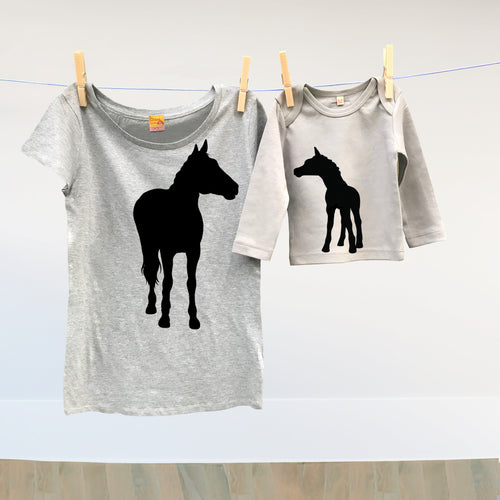 677df61f Mummy horse and baby foal t shirt set