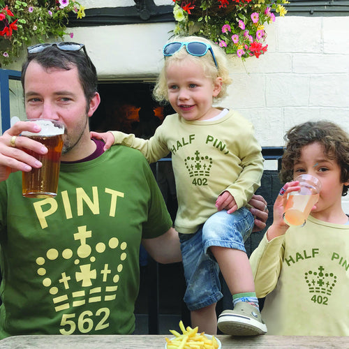 Pint & Half Pint t shirt set for parent and son/ daughter in khaki & coffee
