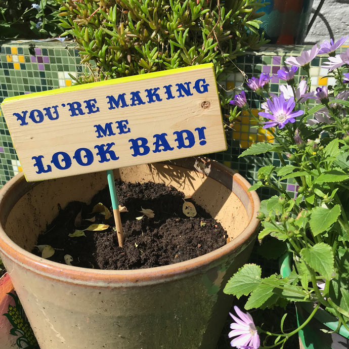 'Your making me look bad' garden sign