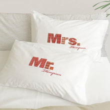 Mr / Mrs / Dr pillowcase set for married couples (red)