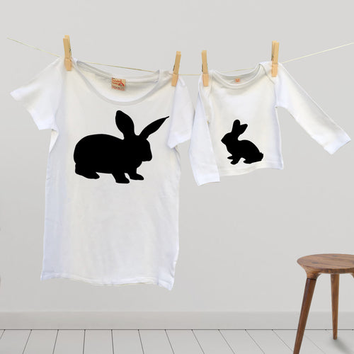 Bunny and rabbit t shirt Twinset for mummy and child / baby