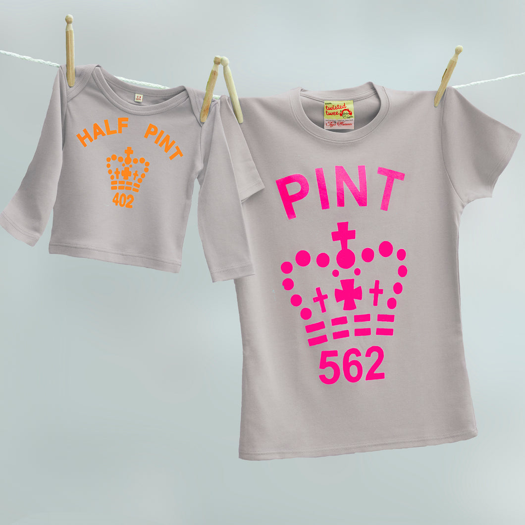 f2acdaf1 Mummy and baby Pint and Half Pint t shirts (grey/citrus) – TwistedTwee