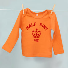 Red and orange organic Half Pint t shirt for younglings