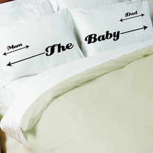 Mum, Dad and Baby Bedhogger personalised pillowcase set