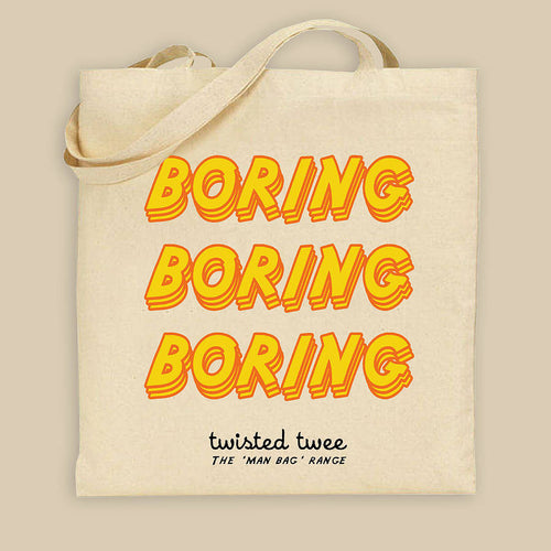 'Boring' canvas bag for the disgruntled male shopper