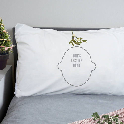 Funny Christmas Mistletoe print Pillowcase