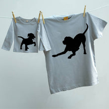 Father and Child Dog and Puppy t shirt animal set.