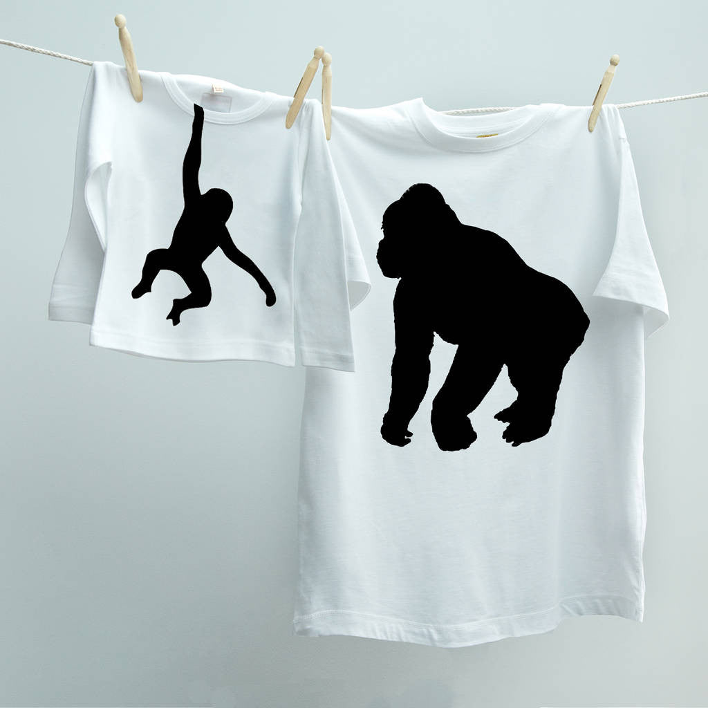 Gorilla and Monkey t shirt Twinset for dad and child