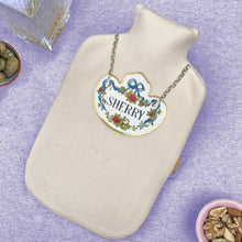 Sherry decanter label hot water bottle