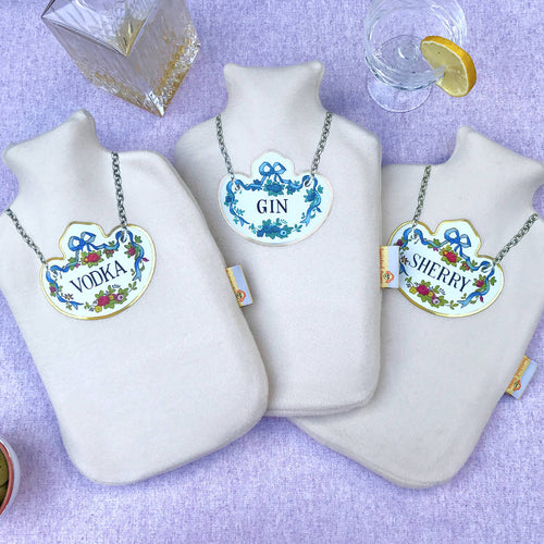 Gin, Sherry and Vodka decanter label hot water bottle set