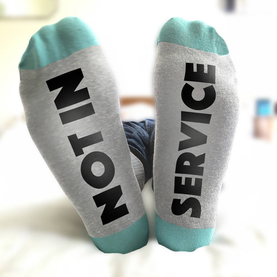 Not in Service secret message 'Feet Up' socks