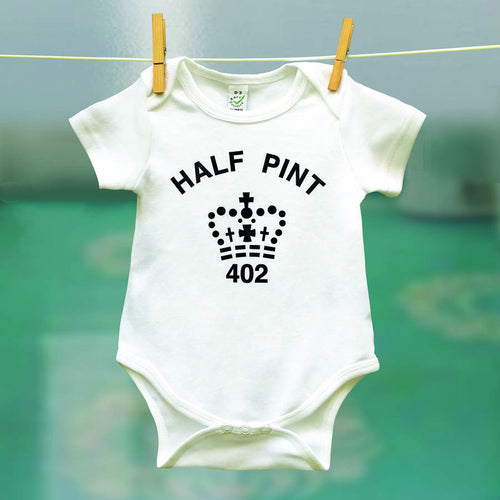 Half Pint organic babygrow for babies who's parents like a pint