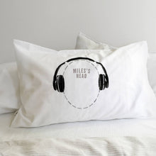 Headphones 'cans' personalised funny pillowcase for music lovers