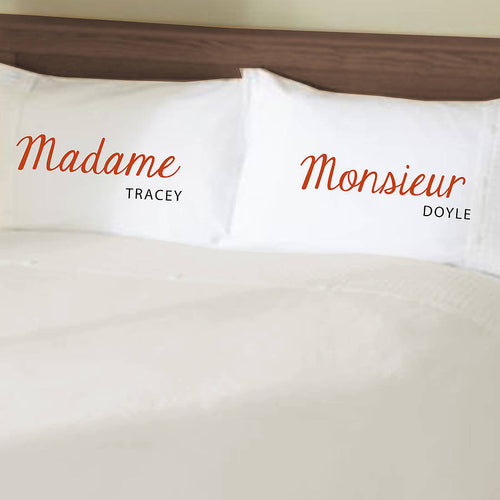 Funny Madam and Monsieur personalised pillowcases Gift Set