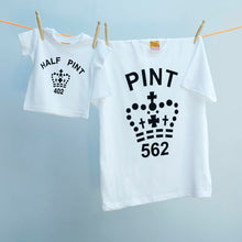 Classic Pint and Half Pint tops for parents & infants in black and white